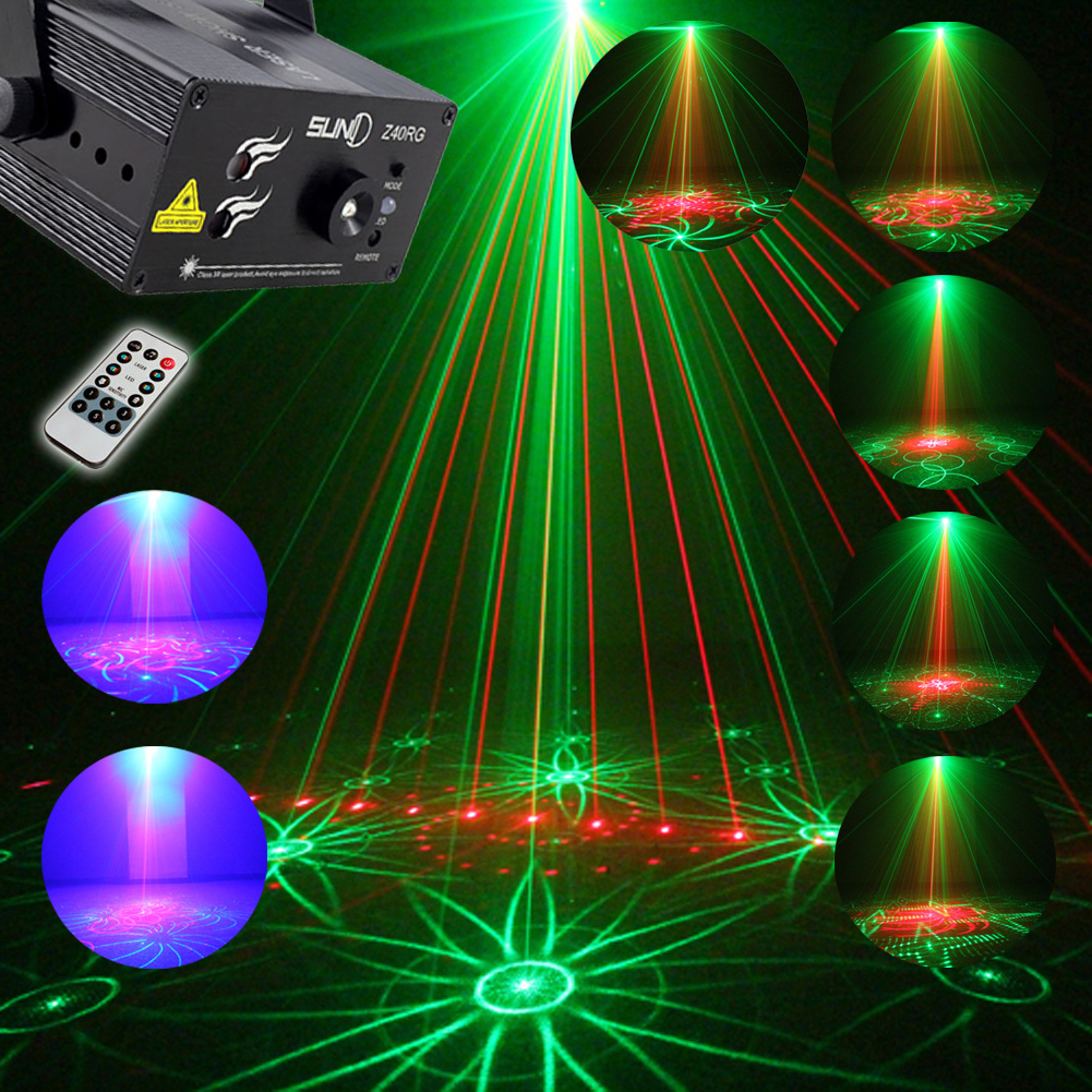 Mini Size 3 Lens 40 Patterns RG LED Stage Laser Projector Lighting  DJ Disco Party Pattern Light Voice Control US plug dhl free shipping led laser stage lighting 5 lens 80 patterns rg mini led laser projector 3w blue light effect show for dj disco