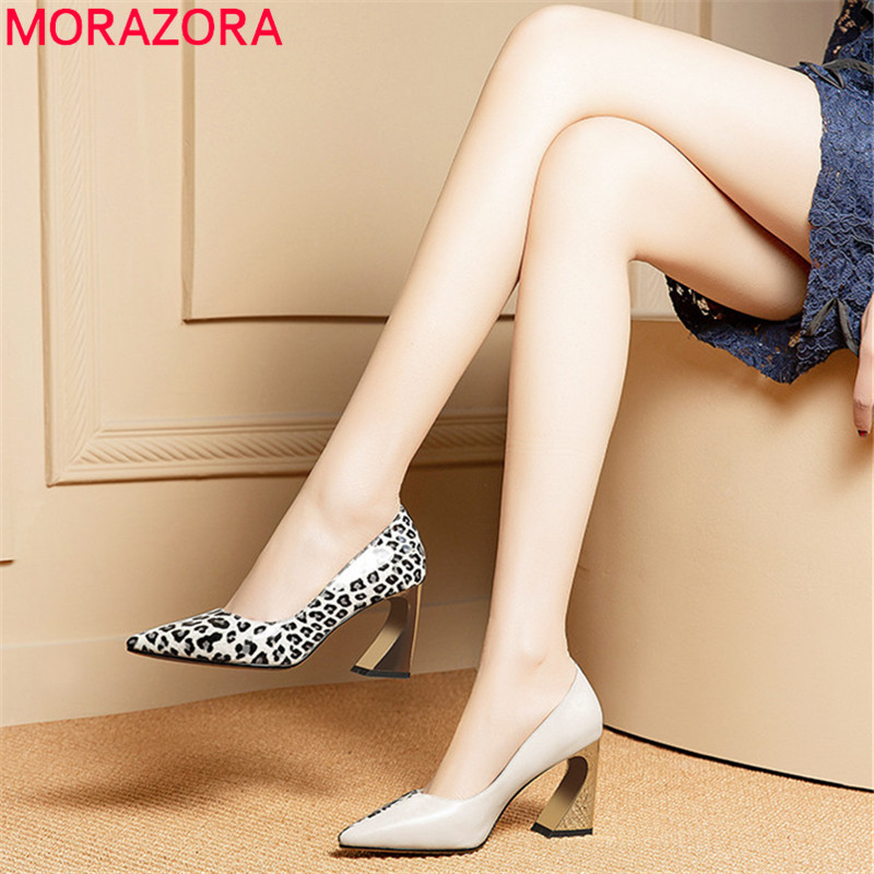 MORAZORA 2019 new fashion women pumps cow leather spring summer single shoes mixed colors high heels