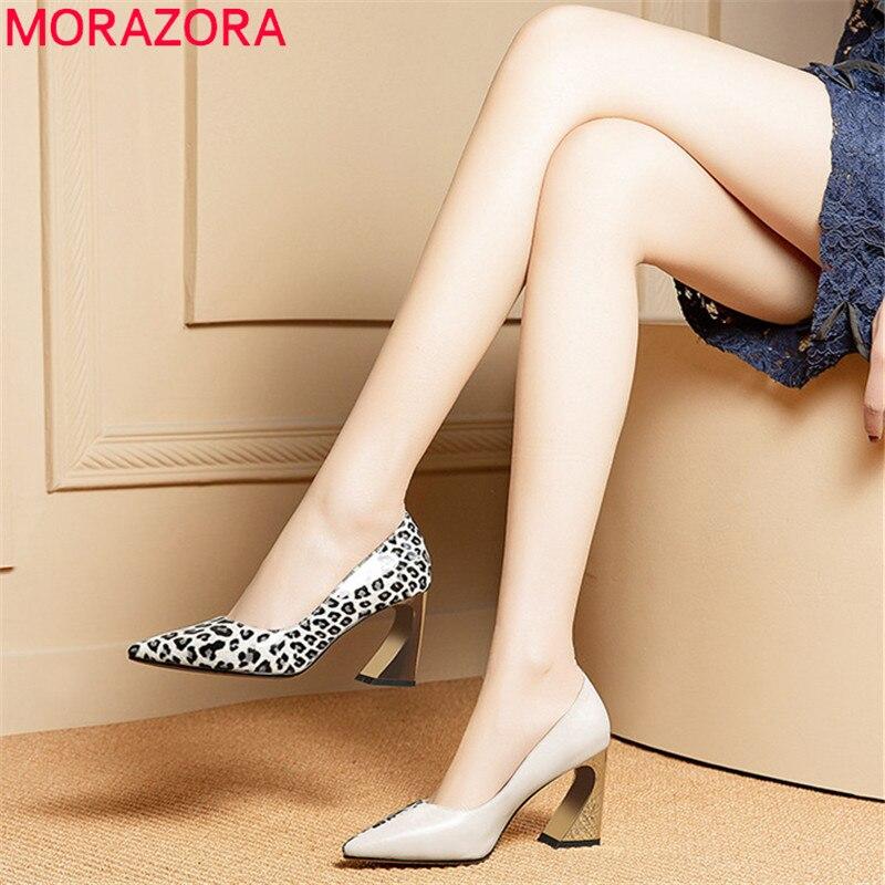 MORAZORA 2019 nuove donne di modo di pompe in pelle di mucca scarpe singolo primavera estate colori misti tacchi alti scarpe donna scarpe ufficio-in Pumps da donna da Scarpe su  Gruppo 1