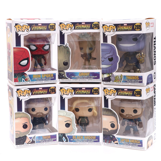 FUNKO POP Marvel Avengers 3-  Infinite War Spider-Man Groot Iron Man- Raytheon Action Figure 10cm