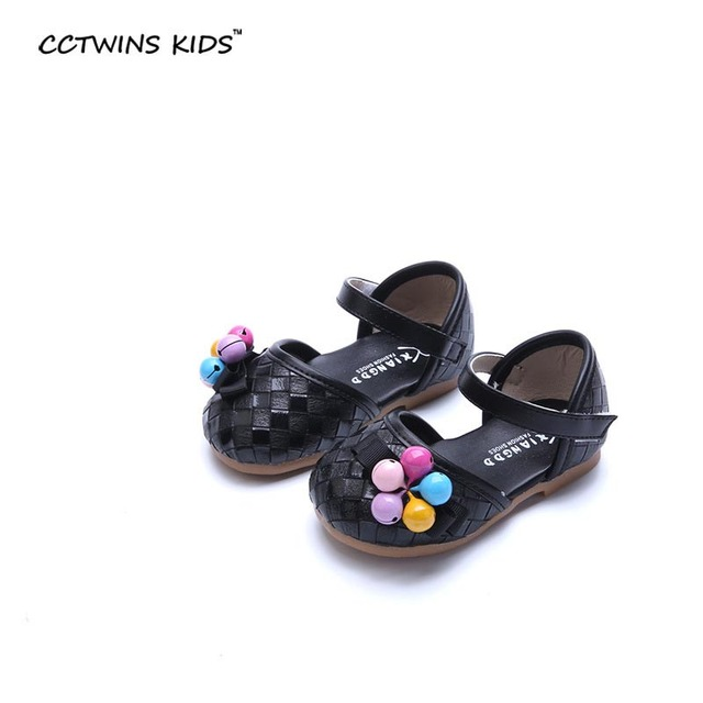 CCTWINS KIDS 2017 spring toddler fashion party for children baby girl flat pu leather kid brand black braid shoe mary jane