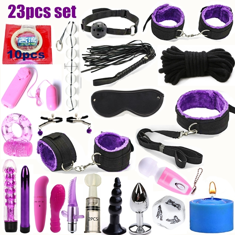 23pcs Sexy Lingerie Nylon Bondage Sex Toy Exotic Set Set Accessories Sexual Anal Plug Porn Toys Sex Suit Bdsm Fetish Vibrator