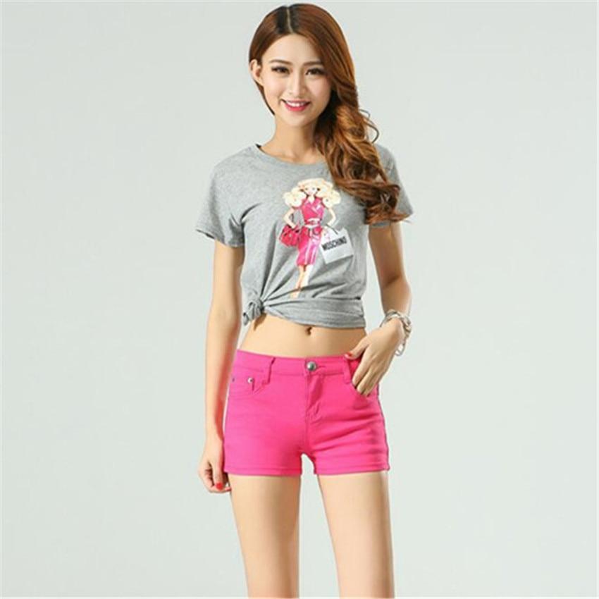 short   feminino new fashion Solid color simple pinkycolor Thin All-match denim   shorts   women pantalones cortos mujer   short   jeans
