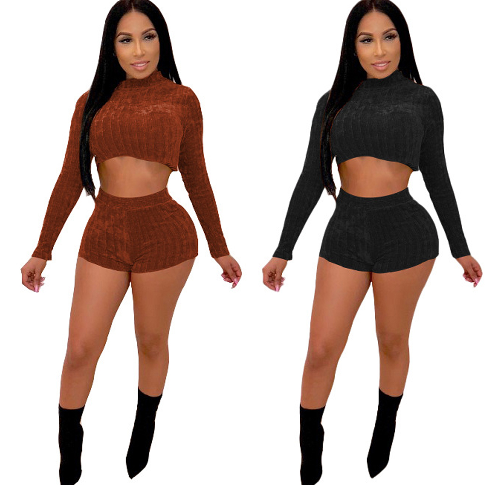 new winter knit jumpsuit two piece black brown casual sports long sleeved pullover shorts suit women 39 s clothing in Rompers from Women 39 s Clothing