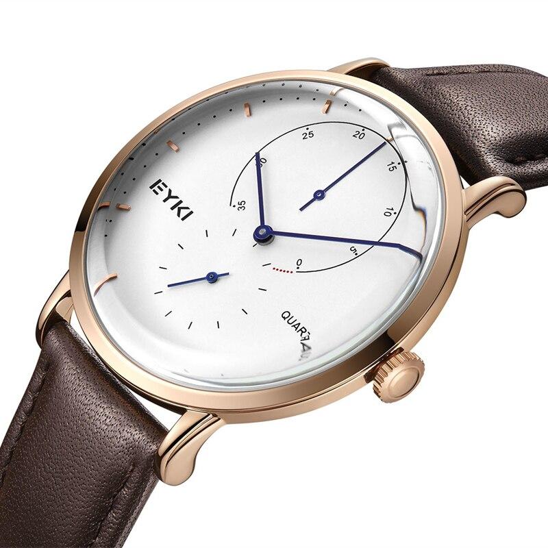 EYKI Brand 2018 Top Brand Simple Minimalism Luxury Quartz Wrist Watches for Men relogio masculino Brown Leather Watch Dropship цена 2017