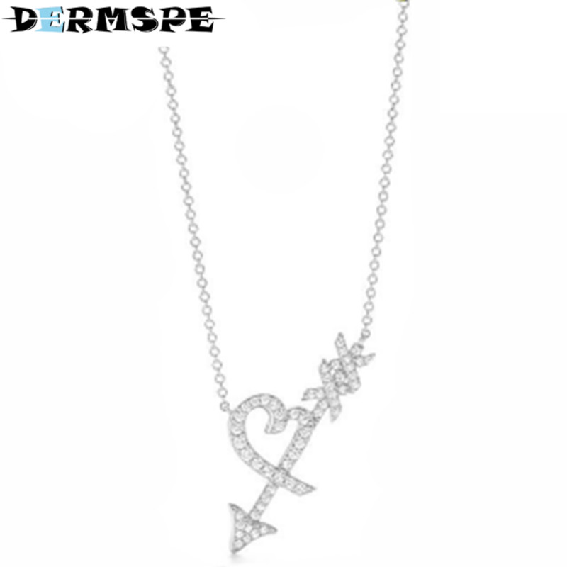 DERMSPE TIFF 925 Sterling Silver Fashion Zircon Ship Anchor Clavicle Chain Charm Ladies Necklace Factory Direct