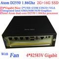 mini pc shuttle with Fan Intel Atom dual-core D2550 1.86G 4*82583V Gigabit LAN Wake on LAN Watchdog 2G RAM 16G SSD Windows Linux