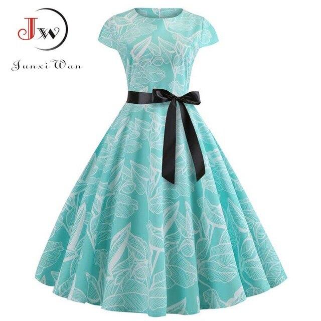 Women Vintage Dress 2019 Summer Floral Print Short Sleeve Dresses 50s 60s Office Party Rockabilly Swing Retro Pinup Plus Size 6