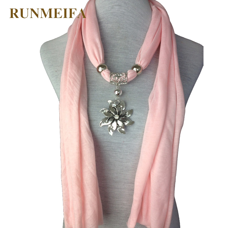 RUNMEIFA Flower Pendant Scarf Solid Polyester Brand New Hot Sell Women Lady Alloy Charm Flower Jewelry Necklace Scarves