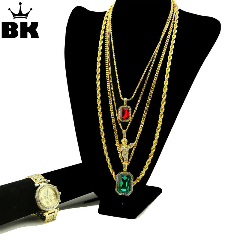 Gold Tone Micro Angel, Rhinestone Pendant, Bling Watch Hip Hop Jewelry Unisex Rapper's Gold color Box Chain Rope Chain Necklace