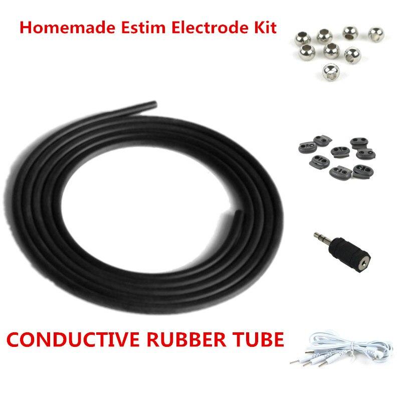 Caseiro E-stim DIY Kit TUBO DE BORRACHA CONDUTORA para Electrosex Engrenagem ESTIM Eletrodos Unidade DEZENAS
