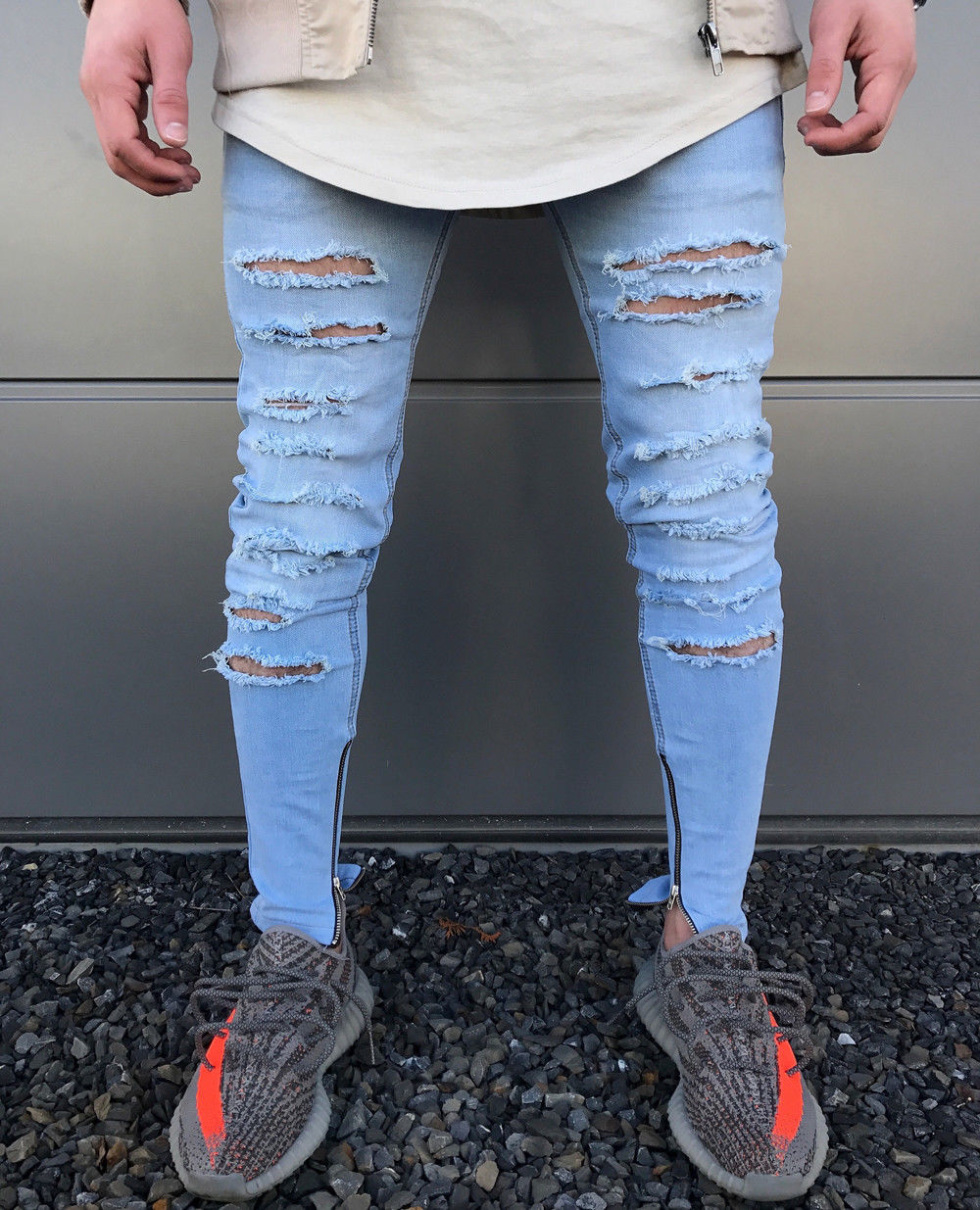 цена на Fashion Men Ripped Skinny Hole Jeans Destroyed Frayed Slim Fit Denim Pants Stylish Mens Fake Zipper Pencil Denim Jeans