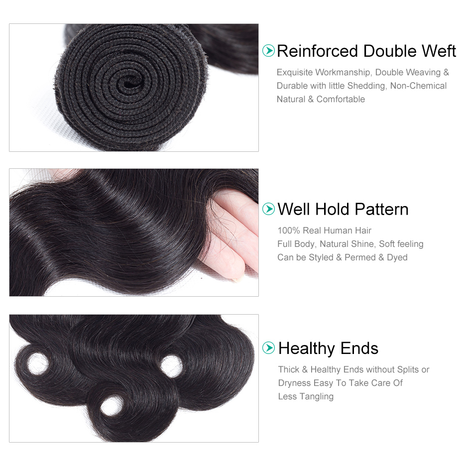 Gabrielle Remy Hair Bundles with Closure 100% Human Hair Weaves Brazilian Body Wave 6x6 Lace Closure Natural Color Free Shipping-in 3/4 Bundles with Closure from Hair Extensions & Wigs    2