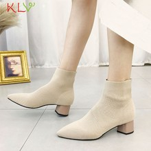 Women Ankle Boots Knitted Elastic Socks Boots Medium Heeled Short Boots Women Point Toe With Heel Shoes 2019 Autumn 18Jan10(China)