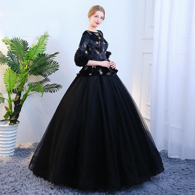 bubble sleeve black velvet organza queen venice carnival queen ball gown medieval dress Renaissance Gown Victoria/Antoinette