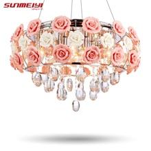 2017 Recién Llegado de Crystal LED Luces de Techo lustres de sala Hermosa Rosa Estilo Para El Dormitorio Comedor Envío libre