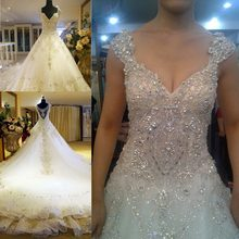 Luxury wedding dress 2016 Promosi Ceko Kristal Lantai Panjang Princess Lace Wedding Dress Fashion Terbaru Desain Tanpa Kereta(China)