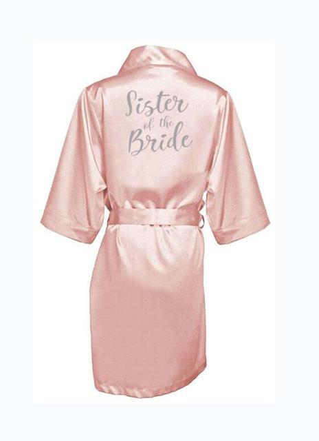 Rosa escuro robe carta prata kimono pijama de cetim robe de casamento da dama de honra