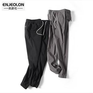 Image 3 - Marca Enjeolon, Pantalones rectos largos de primavera, pantalones de chándal para hombre, pantalones casuales sólidos 3XL, pantalones casuales delgados de calidad para hombre K6252
