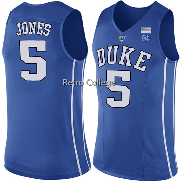 #5 Tyus Jones Duke Blue Devils White bule black College Throwback Basketball Jersey