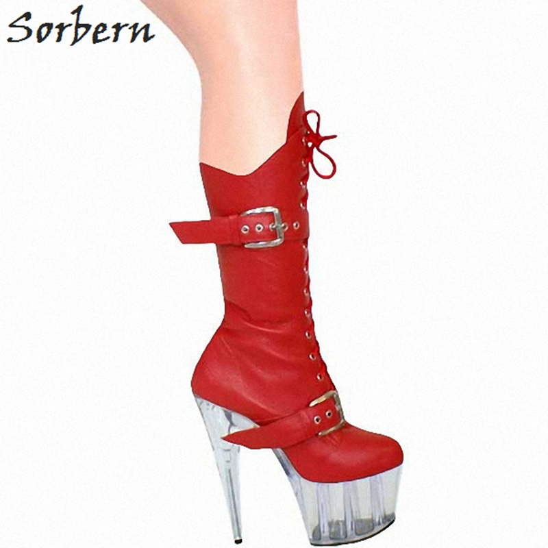 Sorbern Fashion Ankle High Boots For Women Spike High Heels Platform Shoes Ladies Round Toe Boots Women Plus Size Booties 2018 free shipping fashion dress women s spike heels high heel round toe fleece ankle boots large size us 4 19