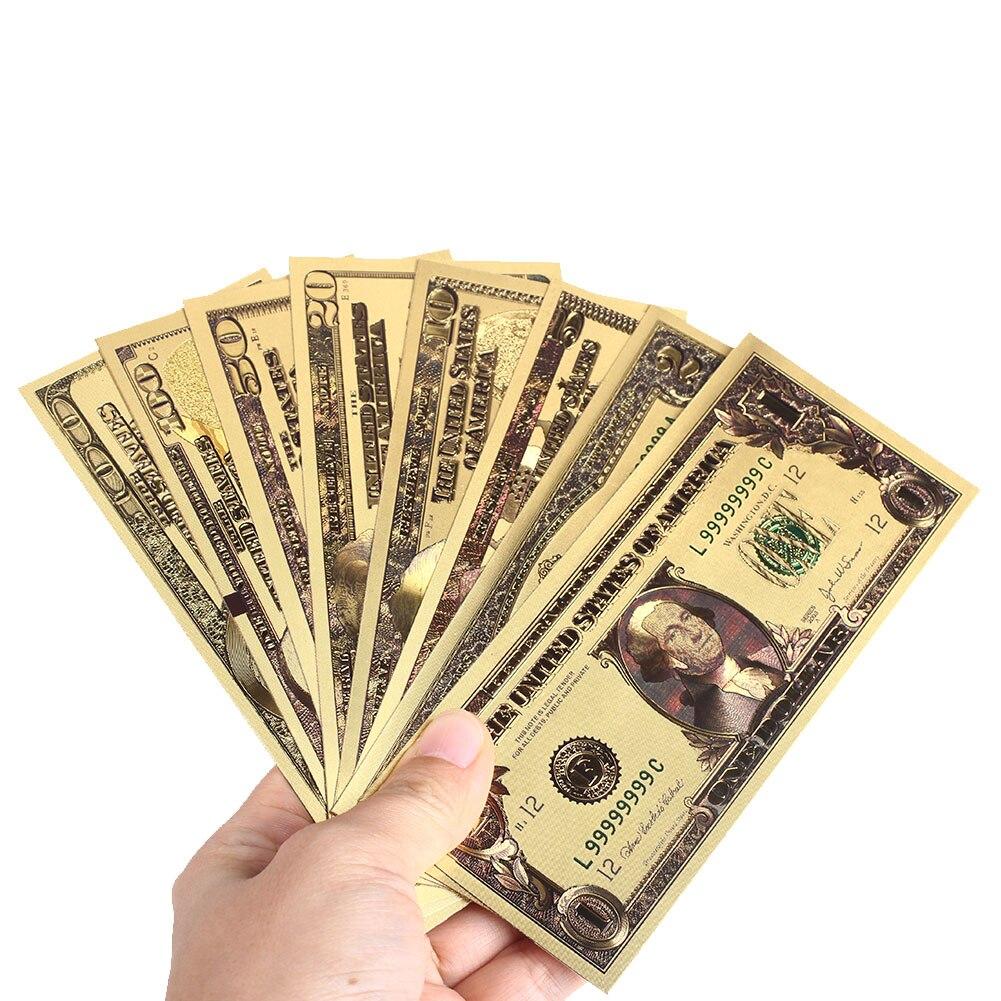 8 шт./компл. памятные заметки реалистичный банкнот на возраст 1, 2, 5 10 20 50 100 доллар поддельные деньги с покрытыем цвета чистого 24 каратного золота долларов под старину с покрытием