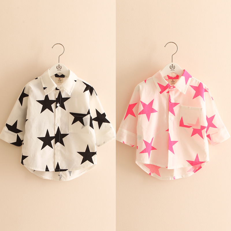 2016 Summer Girls Clothing Baby Child Star Print Turn Down Collar Short-Sleeve Shirt