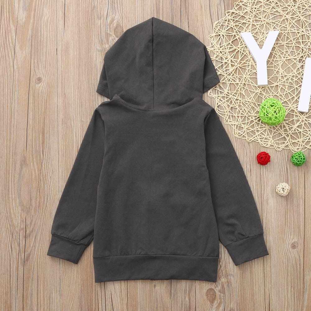 Niños pequeños Unisex bebé niño niña manga larga estampado sólido cremallera suéter camisetas niños ropa Casual recién nacido 2018