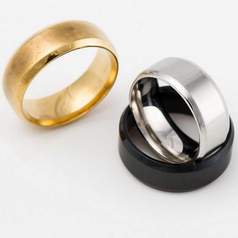 1 adet/grup altın gümüş siyah yüzükler düğün nişan Charm yüzükler boyutu 8-13 erkekler kadınlar için moda takı damla nakliye