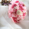 Champagne Coral Mixta Satén de Seda Rosa Ramo De La Boda Joyería Nupcial Rhinestone Hecho A Mano de Encargo bouquet flor artificielle