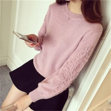 2016 Cashmere Fashion Women Sweater O-Neck Long Sleeve Pullovers Ladies' Solid Color Crochet Floral Knitted Sweater