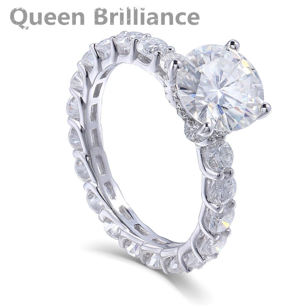 14K 585 White Gold 2 Carat ct Center 8mm F Color Round Brilliant Lab Grown Moissanite Diamond Engagement Wedding Ring for Women