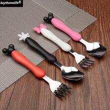 2pcs/set Stainless Steel Cartoon Spoon Fork Ice Cream Tea Coffee Spoons Forks Drink Children Dinnerware Set Tableware