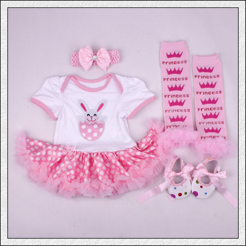 0 24M Baby Girl Clothing Short Sleeve Cotton Infant Bebes Tutu Dress Romper Jumpsuit Outfit My First Easter Costume Party Gift in Rompers from Mother Kids