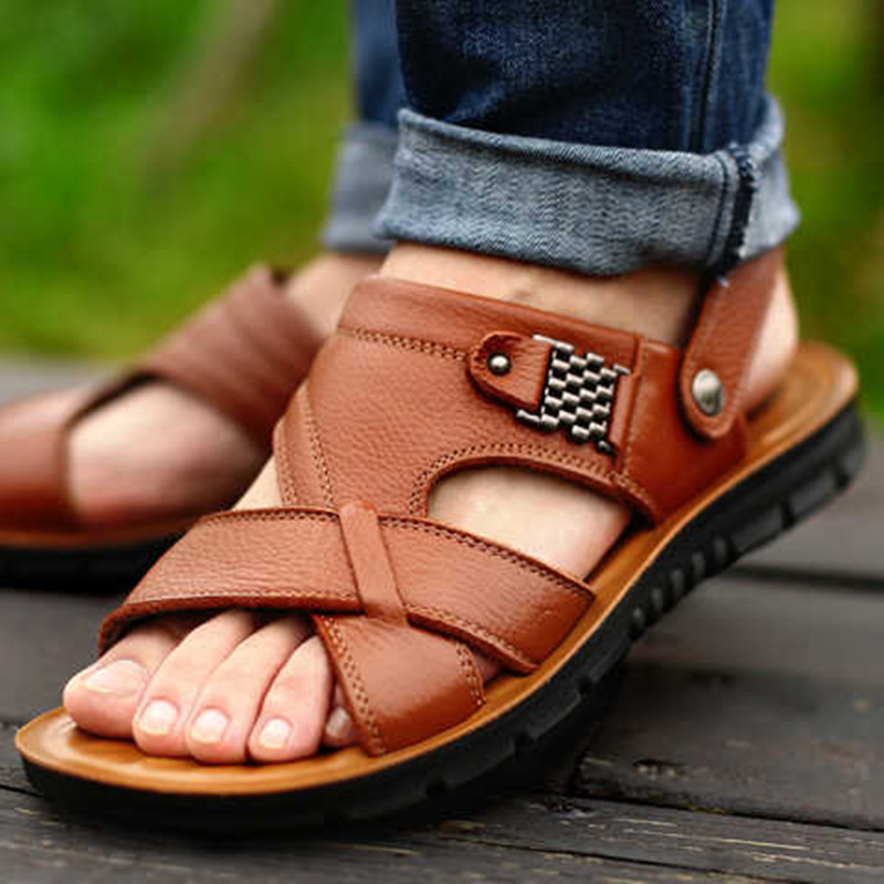 Big Size 48 Men Genuine Leather Sandals Summer Classic Men Shoes Slippers Soft Sandals Men Roman Comfortable Walking Footwear(China)