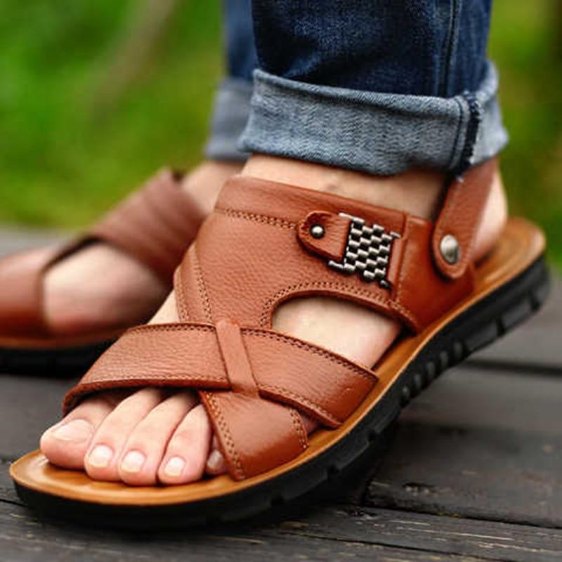Grande tamanho 48 homens sandálias de couro genuíno verão clássico homens sapatos chinelos sandálias macias roman confortável calçado de caminhada