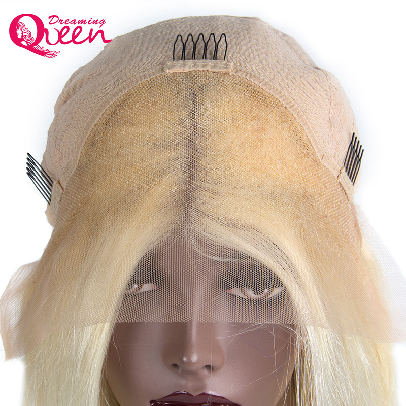 180% Density 613 Blonde Short Bob Lace Front Human Hair Wigs with Baby Hair Brazilian Remy Hair for Women Dreaming Queen Hair
