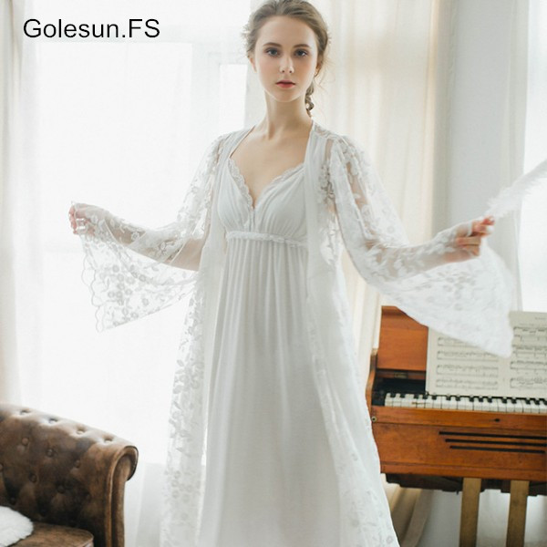 High Quality Spring Autumn Women's Princess robe set Homewear Sleepwear Lace Cotton Long sleeve Robe and nightgown set SW1715