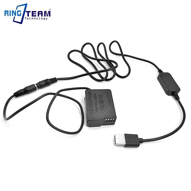 DMW DCC8 + 2x Cable USB banco de potencia encaja Panasonic DMC-FZ1000 FZ200 FZ300 G7 G6 G5 GH2 GH2K GH2S GX8 G80 G81 G85 Cámara
