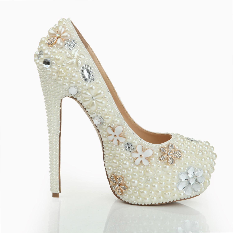 LSDN-1078 à la main Ultra haut talon pompes femmes blanc haut de gamme Banquet imperméable à l'eau Table fête Sexy cristal perle chaussures de mariage