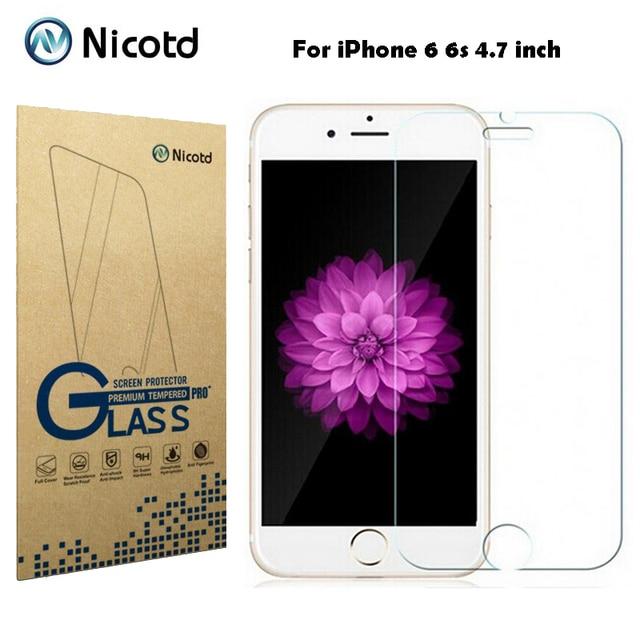 """Nicotd 9 H 0.3mm 2.5D Arc-resistente A Riscos de Vidro Temperado para o iphone 6 6 s 4.7 """"Explosão prova Temperado Filme Protetor de Tela"""