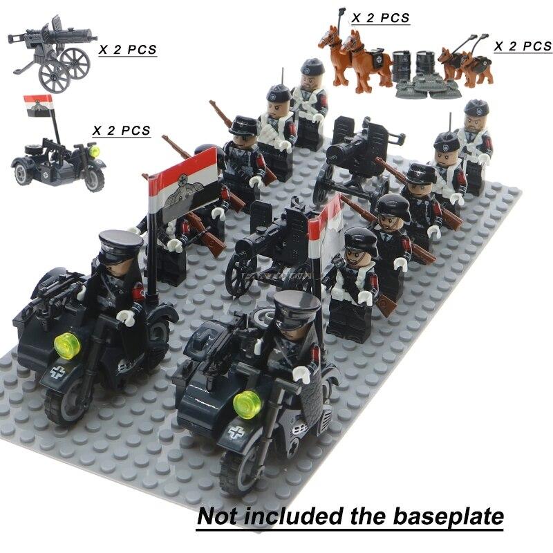 WW2 soldados del ejército de tropas militares alemán Rusia nos Reino Unido soviética Italia bloque de construcción con armas accesorios Legoinglys Juguetes