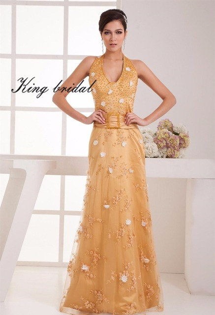 Gold Halter Beading Embroidery Flowers Evening Dresses Long 2017 Sleeveless  A Line Floor Length Formal Dress Women Prom Gowns bdf9f5ab8334