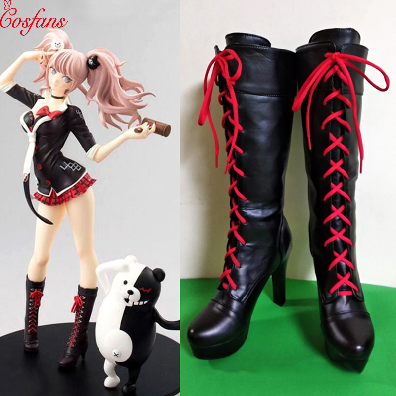 2019 New Anime Danganronpa 2 Enoshima Junko Cosplay Boots Lace Up High Heel Shoes New+Drop Shipping Pu Leather Halloween Doll
