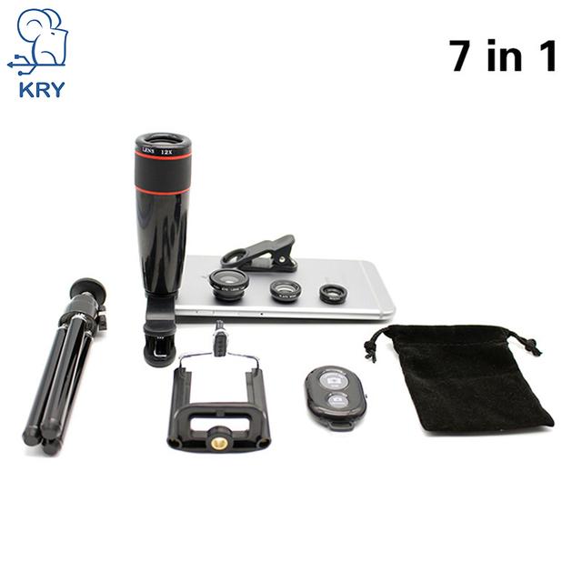 7in1 12x Lentes Trípode 3 en 1 ojo de Pez Ojo de Pez Lente para Teléfonos Móviles lentes para iphone 5s lente 5 6 6 s 7 plus lente obturador bluetooth