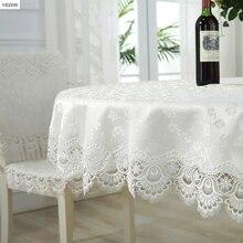 Vezon Лидер продаж, круглый тонкий Jaquard полиэстер, кружевные скатерти для свадебной вечеринки, домашняя скатерть, покрытие, текстиль, украшение