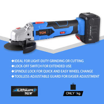 TCH 16V Lithium-ion Angle Grinder Wireless Portable Polisher Mini Multifunctional polishing machine 4 Inch Disc Cutting