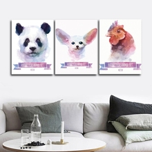 Panda Fox Chicken Animals Wall Pictures Poster Print Canvas Painting Calligraphy for Living Room Bedroom Home Decor Frameless