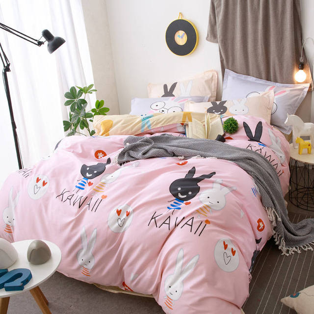 fee524f416 100% Cotton Cartoon Rabbit Pink Yellow Bedding Sets Queen Full Size 4/5PC  Quilt