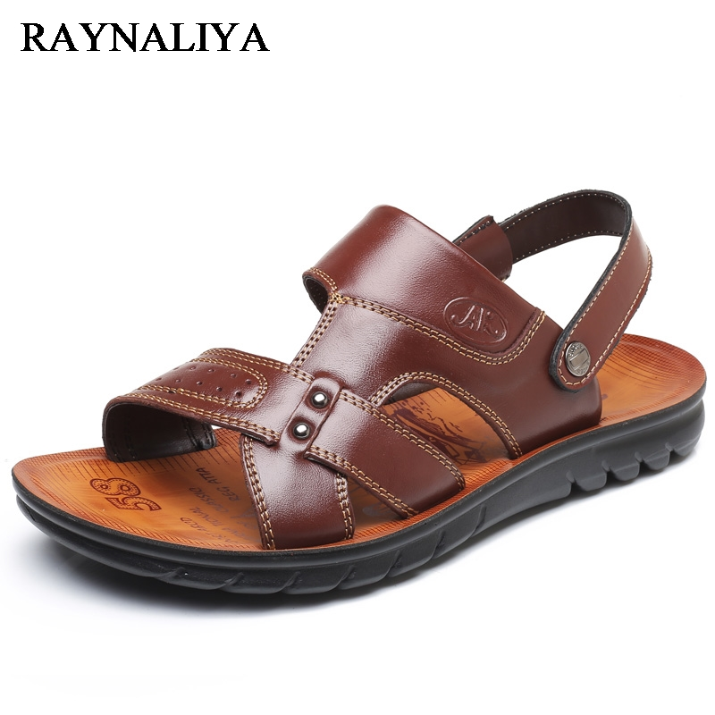 2018 Summer Men Fashion Sandals Genuine Cow Leather Breathable Slides - Men's Shoes